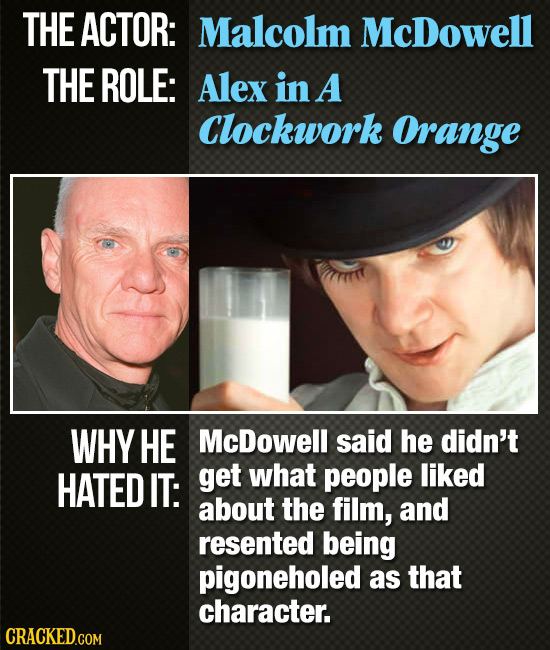 THE ACTOR: Malcolm McDowell THE ROLE: Alex in A Clockwork OrAnGE WHY HE McDowell said he didn't HATED IT: get what people liked about the film, and re