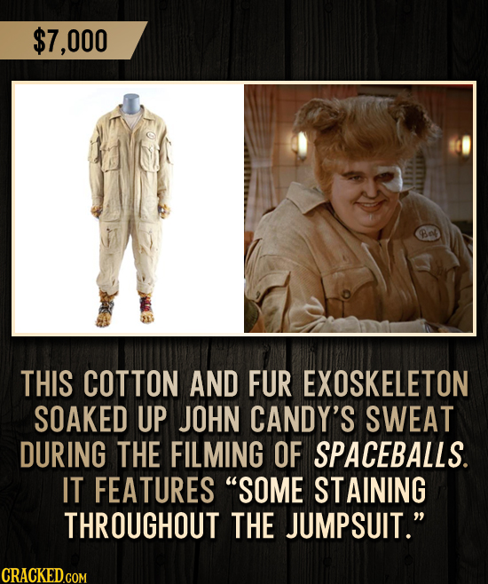 $7,000 THIS COTTON AND FUR EXOSKELETON SOAKED UP JOHN CANDY'S SWEAT DURING THE FILMING OF SPACEBALLS. IT FEATURES SOME STAINING THROUGHOUT THE JUMPSU