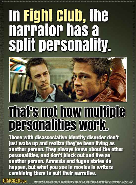 IN Fight club, the narrator has a split personality. That's not how multiple personalities work. Those with disassociative identity disorder don't jus