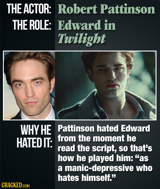 THE ACTOR: Robert Pattinson THE ROLE: Edward in Twilight WHY HE Pattinson hated Edward HATED IT: from the moment he read the script, So that's how he