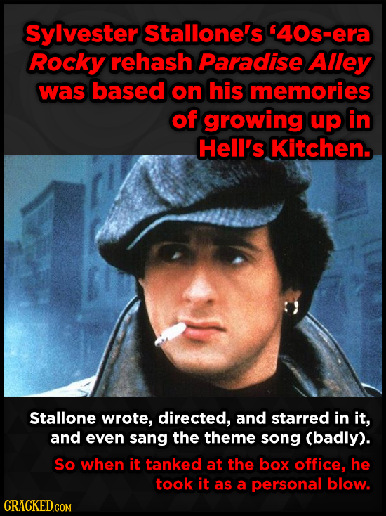Sylvester Stallone's 40s-era Rocky rehash Paradise Alley was based on his memories of growing up in Hell's Kitchen. Stallone wrote, directed, and sta