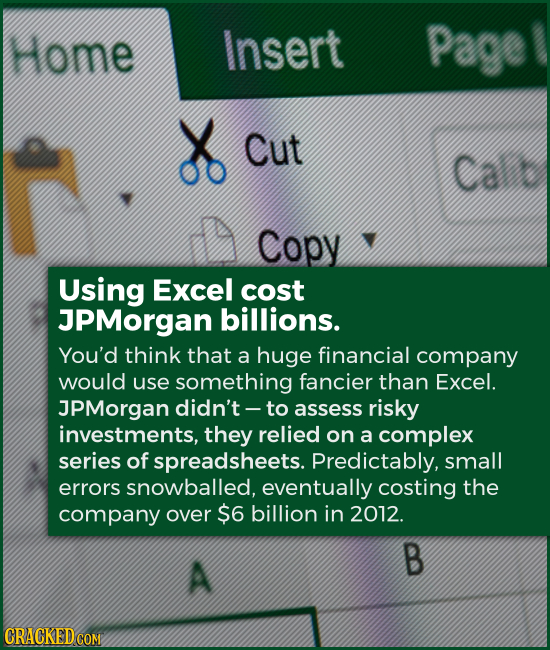 Using Excel cost JPMorgan billions. You'd think that a huge financial company would use something fancier than Excel. JPMorgan didn't -- to assess ris