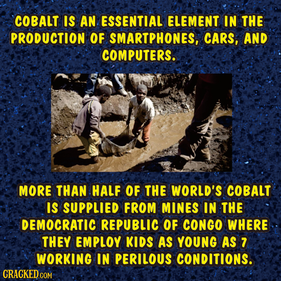 COBALT IS AN ESSENTIAL ELEMENT IN THE PRODUCTION OF SMARTPHONES, CARS, AND COMPUTERS. MORE THAN HALF OF THE WORLD'S COBALT IS SUPPLIED FROM MINES IN T