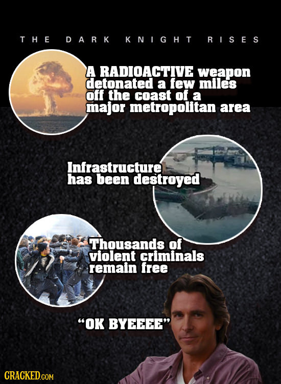 THE DARK KNIGHT RISES A RADIOACTIVE weapon detonated a few miles off the coast of a major metropolitan area Infrastructure has been destroyed Thousand