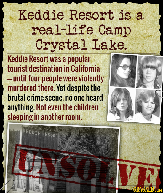 Keddie Resort is a real-life Camp Crystal Lake. Keddie Resort was a popular tourist destination in California -until four people were violently murder