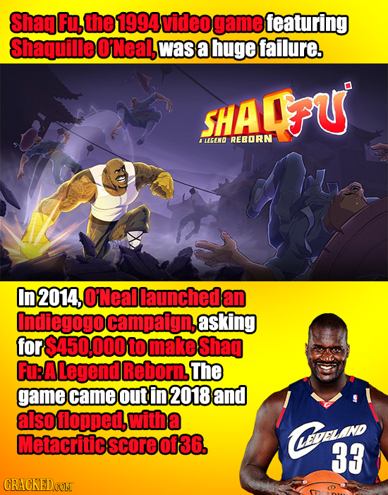 ShagFu, the 1994video game featuring Shaquille O'Neal, was a huge failure. HA OFU ALEGEND REBORN In 2014, O'Neal launchedan Indiegogo campaign, asking