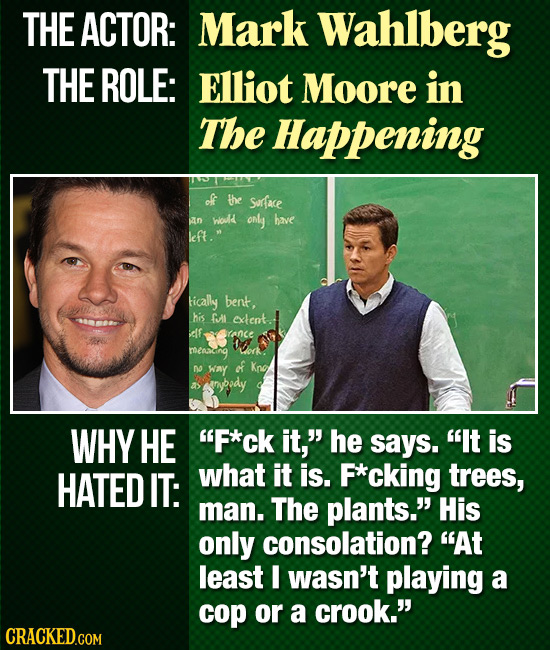 THE ACTOR: Mark Wahlberg THE ROLE: Elliot Moore in The Happening of the Sorace an woud only have left. tically bent, his GI extent. alf ronce meaceih