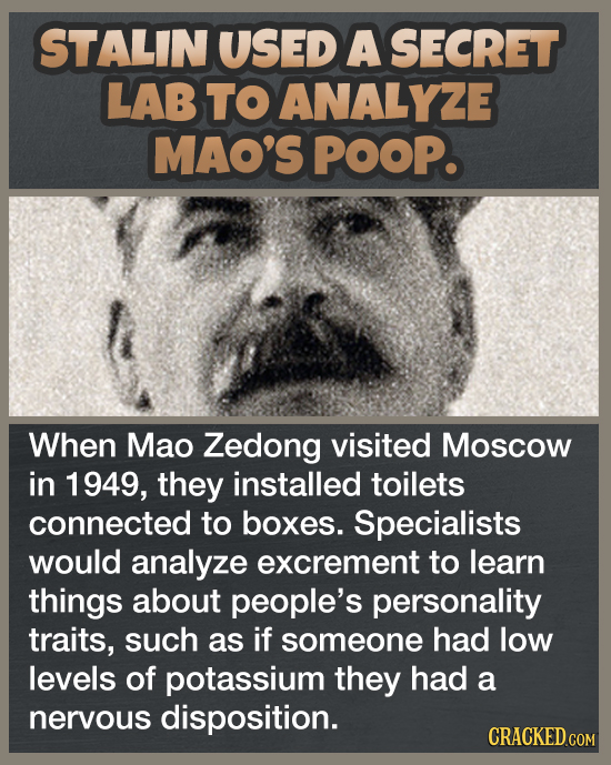 STALIN USED A SECRET LAB TO ANALYZE MAO'S POOP. When Mao Zedong visited Moscow in 1949, they installed toilets connected to boxes. Specialists would a