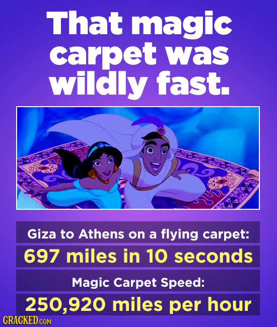 That magic carpet was wildly fast. Giza to Athens on a flying carpet: 697 miles in 10 seconds Magic Carpet Speed: 250,920 miles per hour CRACKED COM