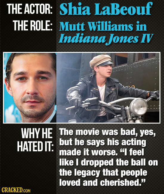 THE ACTOR: Shia LaBeouf THE ROLE: Mutt Williams in Indiana Jones IV WHY HE The movie was bad, yes, HATED IT: but he says his acting made it worse. I