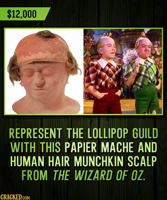 $12,000 REPRESENT THE LOLLIPOP GUILD WITH THIS PAPIER MACHE AND HUMAN HAIR MUNCHKIN SCALP FROM THE WIZARD OF OZ.