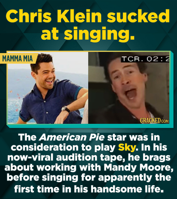 Chris Klein sucked at singing. MAMMA MIA TCR. 02: CRACKED.COM The American Pie star was in consideration to play Sky. In his now-viral audition tape,