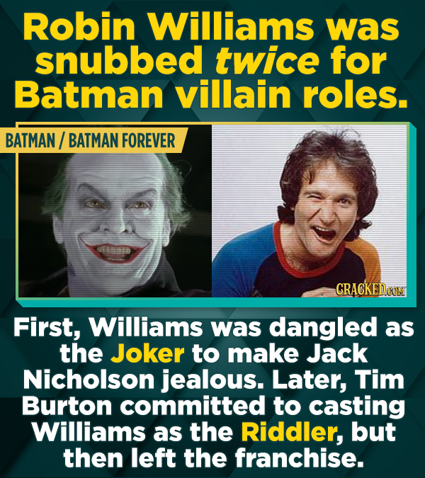 Robin Williams was snubbed twice for Batman villain roles. BATMAN/ BATMAN FOREVER First, Williams was dangled as the Joker to make Jack Nicholson jeal
