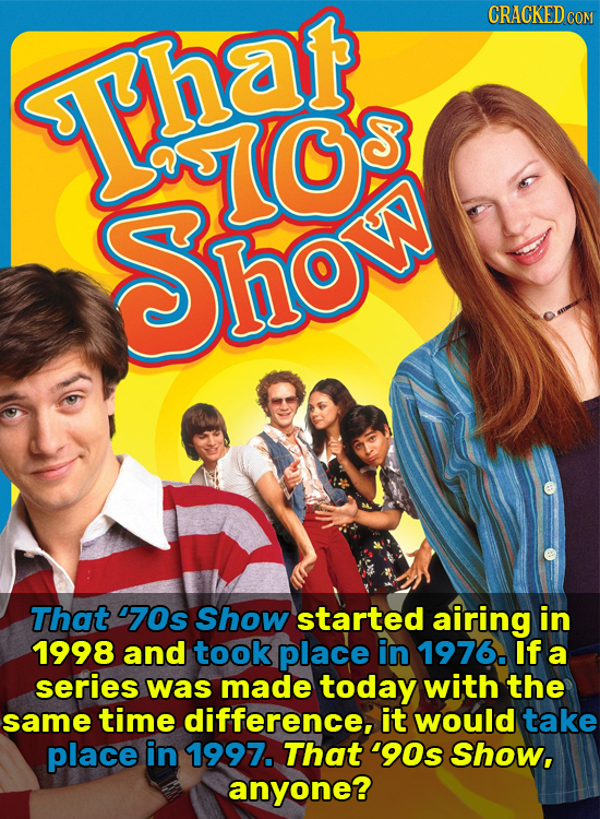 CRACKEDcO Thar VS O Sho That '70s Show started airing in 1998 and took place in 1976. If a series was made today with the same time difference, it wou