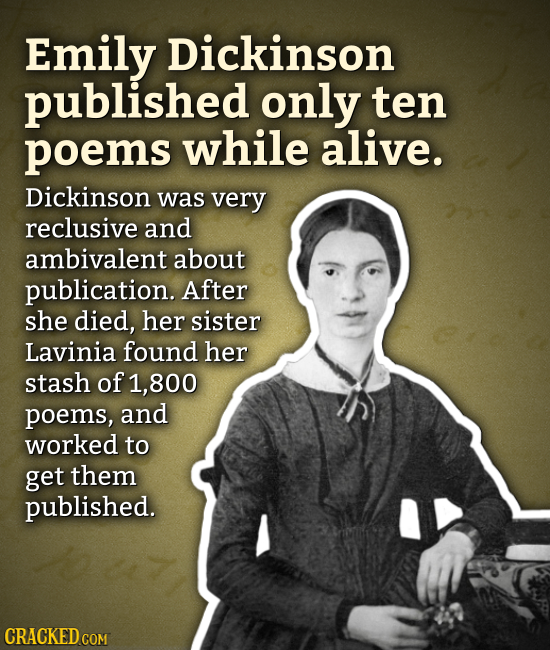 Emily Dickinson published only ten poems while alive. Dickinson was very reclusive and ambivalent about publication. After she died, her sister Lavini