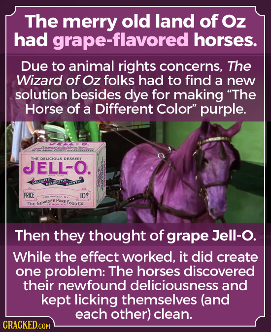 The merry old land of Oz had -flavored horses. Due to animal rights concerns, The Wizard of Oz folks had to find a new solution besides dye for making