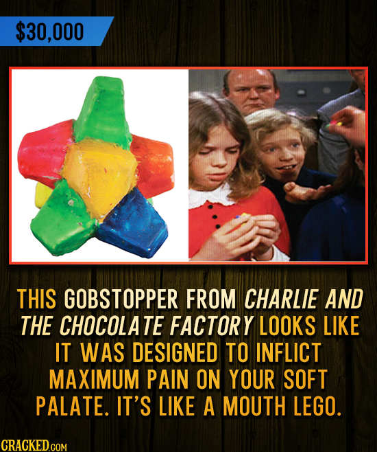 $30,000 THIS GOBSTOPPER FROM CHARLIE AND THE CHOCOLATE FACTORY LOOKS LIKE IT WAS DESIGNED TO INFLICT MAXIMUM PAIN ON YOUR SOFT PALATE. IT'S LIKE A MOU