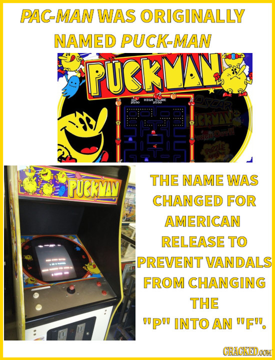 PAC-MAN WAS ORIGINALLY NAMED PUCK-MAN PUKLAS sdar HOAL SAE T CkMAW Oon PUKMAV THE NAME WAS CHANGED FOR AMERICAN RELEASE TO PREVENT VANDALS FROM CHANGI