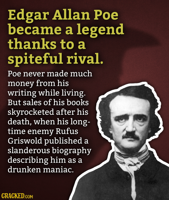 Edgar Allan Poe became a legend thanks to a spiteful rival. Poe never made much money from his writing while living. But sales of his books skyrockete