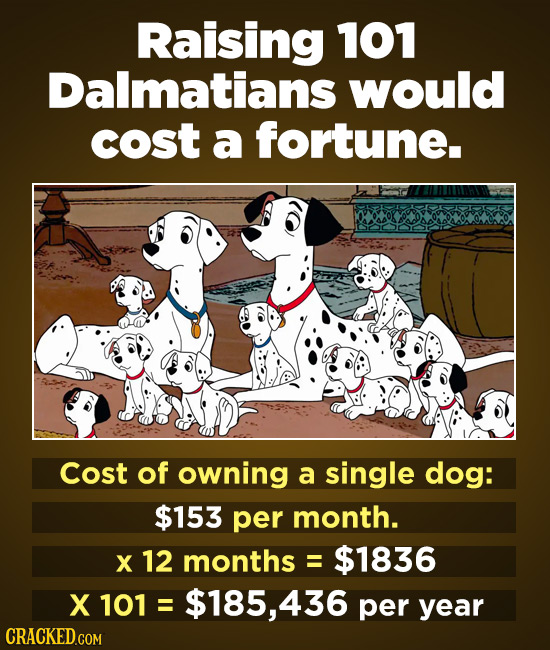 Raising 101 Dalmatians would cost a fortune. Cost of owning a single dog: $153 per month. X 12 months = $1836 X 101 = $185, 436 per year