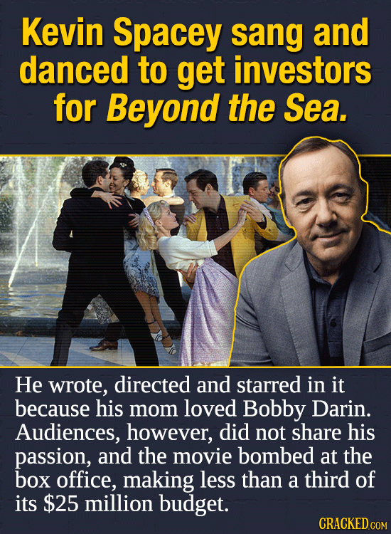 Kevin Spacey sang and danced to get investors for Beyond the Sea. He wrote, directed and starred in it because his mom loved Bobby Darin. Audiences, h