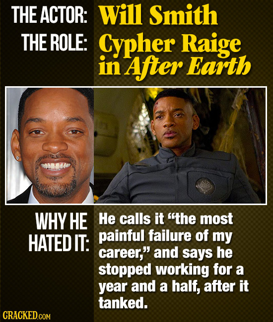 THE ACTOR: Will Smith THE ROLE: Cypher Raige in After Earth WHY HE He calls it the most HATED IT: painful failure of my career, and says he stopped