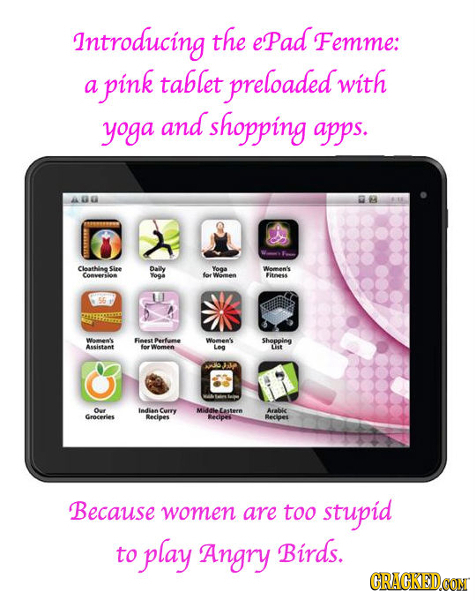 Introducing the ePad Femme: pink tablet preloaded with a yoga and shopping apps. Cloathine Sire Daily Yooa Weman'ls Conversior Yoga loe Women Fithess
