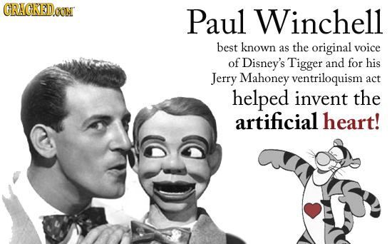 GRACKED.OON Paul Winchell best known as the original voice of Disney's Tigger and for his Jerry Mahoney ventriloquism act helped invent the artificial