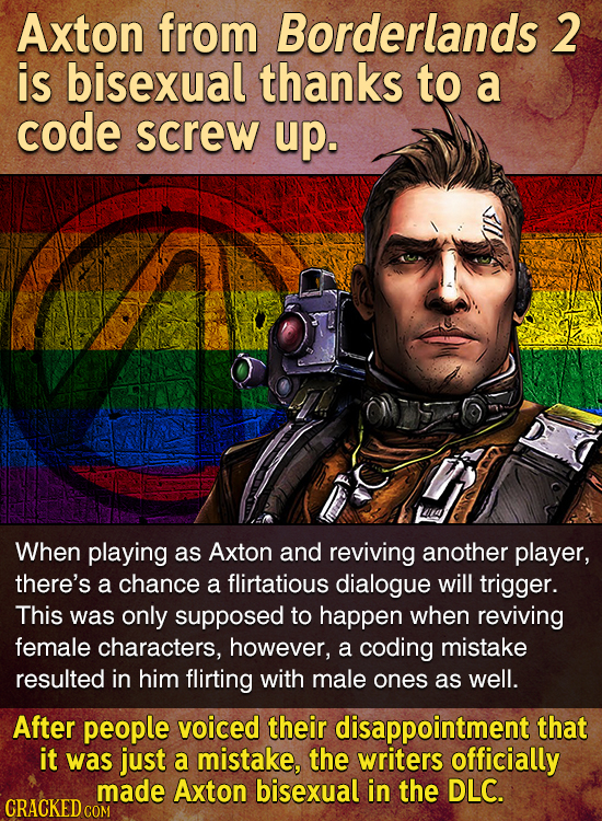 Axton from Borderlands 2 is bisexual thanks to a code screw up. When playing as Axton and reviving another player, there's a chance a flirtatious dial