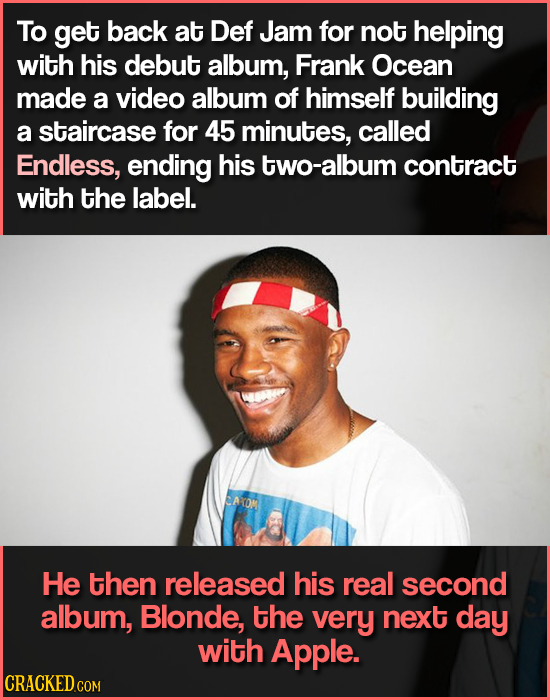 To get back at Def Jam for not helping with his debut album, Frank Ocean made a video album of himself building a staircase for 45 minutes, called End