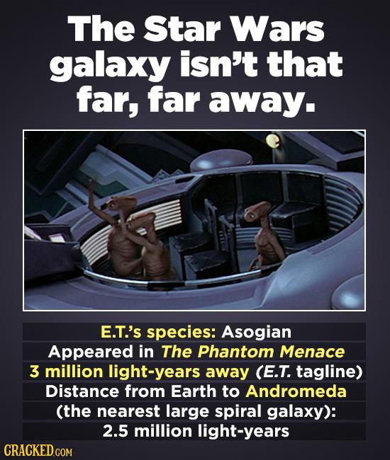 The Star Wars galaxy isn't that far, far away. E.T.'s species: Asogian Appeared in The Phantom Menace 3 million light-years away (E.T. tagline) Distan