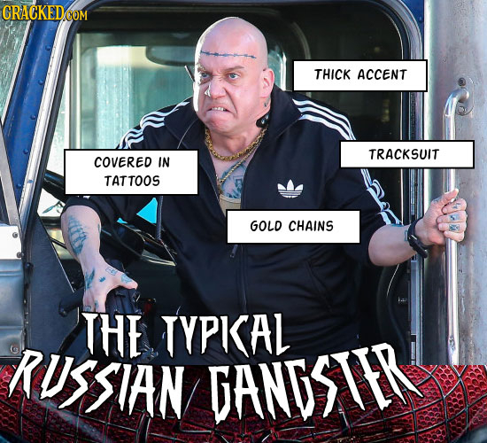 THICK ACCENT TRACKSUIT COVERED IN TATTOOS GOLD CHAINS THE TYPISAL RUSSIAN DANDSIER