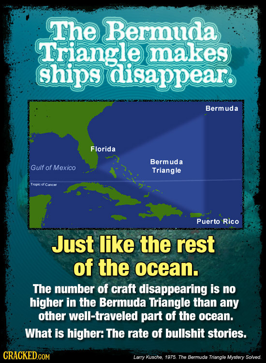 The Bermuda Triangle makes ships disappear. Bermud a Florida Berm ud a Gulf of Mexico Triangle Teoie of Cancer Puerto Rico Just like the rest of the o