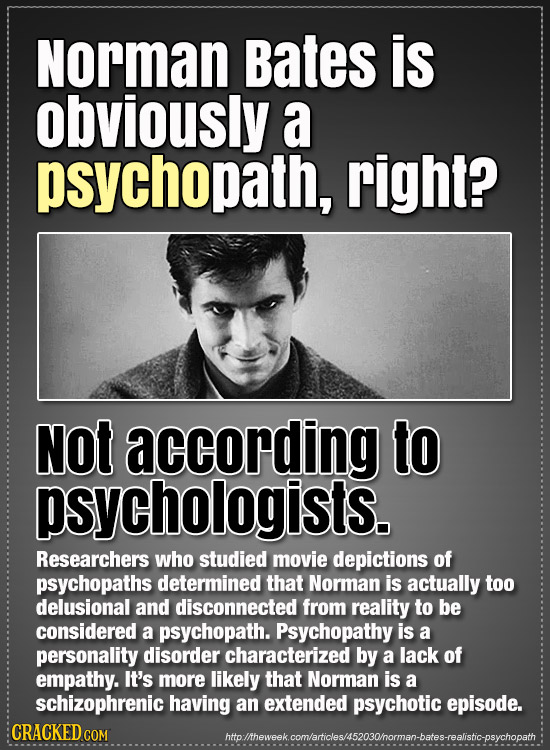 Norman Bates is obviously a psychopath, right? Not according to psychologists. Researchers who studied movie depictions of psychopaths determined that