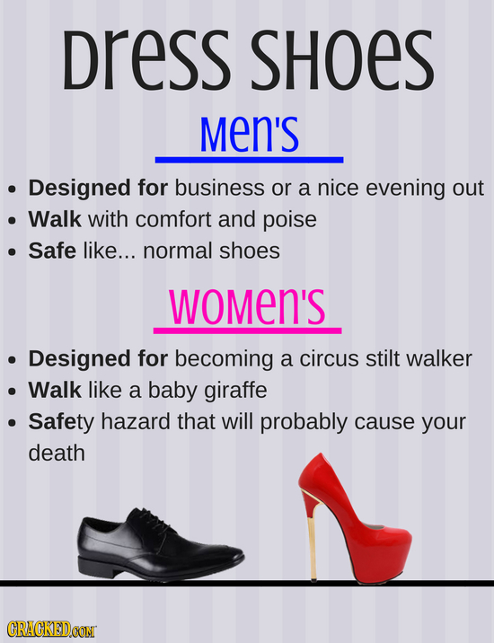 Dress SHOES Men's Designed for business or a nice evening out Walk with comfort and poise Safe like... normal shoes WoMeN'S Designed for becoming a ci