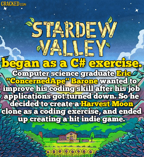CRACKEDC COM STARDEWY VALLEY began as a C# exercise. Computer science graduate Eric Concernedape Barone wanted to improve his coding skill after his
