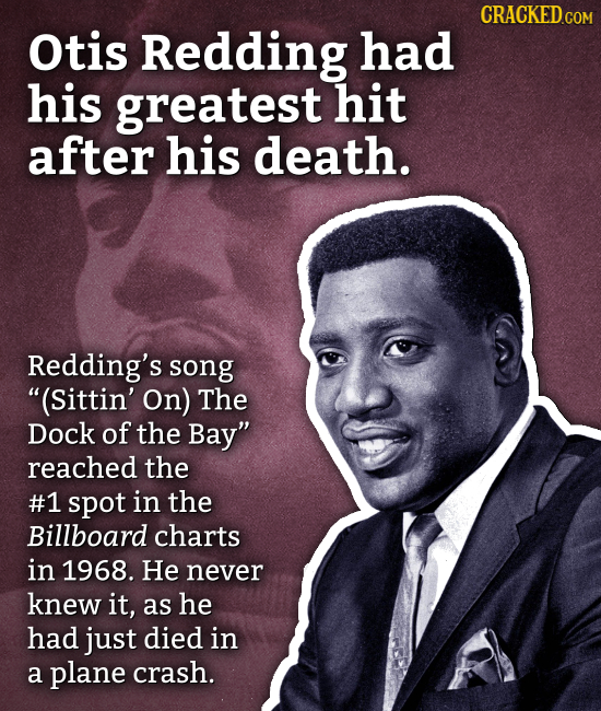 Otis Redding had his greatest hit after his death. Redding's song (Sittin' On) The Dock of the Bay reached the #1 spot in the Billboard charts in 19