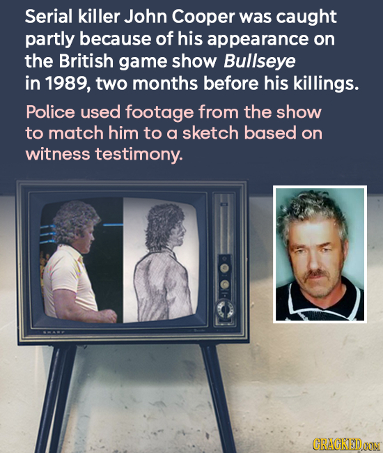 Serial killer John Cooper was caught partly because of his appearance on the British game show Bullseye in 1989, two months before his killings. Polic