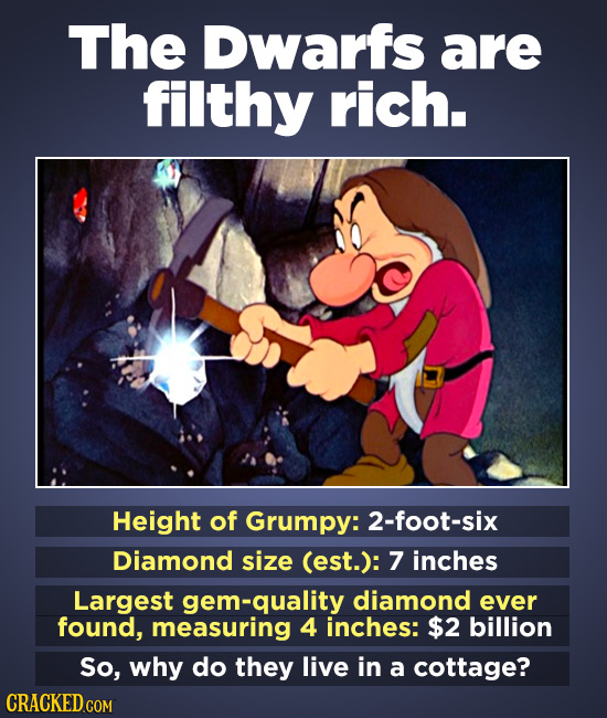 The Dwarfs are filthy rich. Height of Grumpy: 2-foot-six Diamond size (est.): 7 inches Largest gem-quality diamond ever found, measuring 4 inches: $2