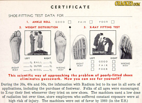 GRAGKEDCOMT CERTIFICATE SHOE-FITTING TEST DATA FOR 1. ANKLE ROLL GOOD FAIR POOR 2. WEIGHT DISTRIBUTION 3. X-RAY FITTING TEST 40% 702 XRAY TEST NTICHT
