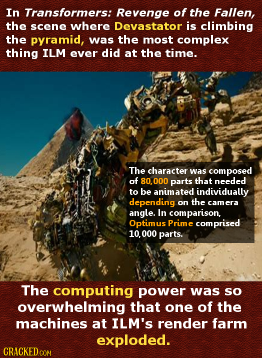 In Transformers: Revenge of the Fallen, the scene where Devastator is climbing the pyramid, was the most complex thing ILM ever did at the time. The c
