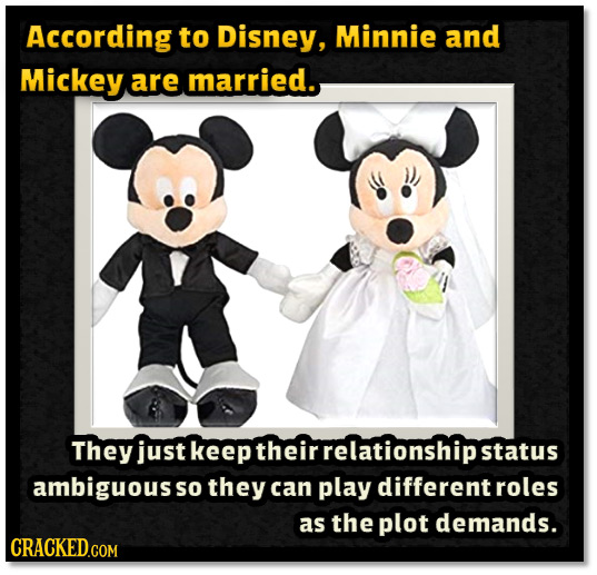 According to Disney, Minnie and Mickey are married. They just keep their relationshipst ambiguous So they can play different roles as the plot demands