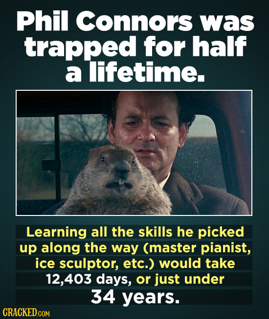 Phil Connors was trapped for half a lifetime. Learning all the skills he picked up along the way (master pianist, ice sculptor, etc.) would take 12,40