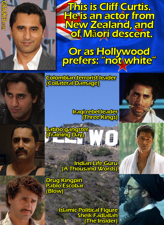 This is Cliff Curtis. He is an actor from New Zealand, and of Maori descent. Or as Hollywood prefers: not white Colombian terrorist leader (Collater