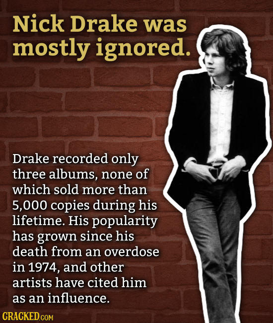 Nick Drake was mostly ignored. Drake recorded only three albums, none of which sold more than 5,000 copies during his lifetime. His popularity has gro