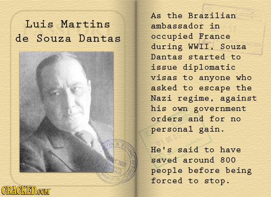 As the Brazilian Luis Martins ambassador in de Souza Dantas occupied France during WWII Souza Dantas started to issue diplomatic visas to anyone who a