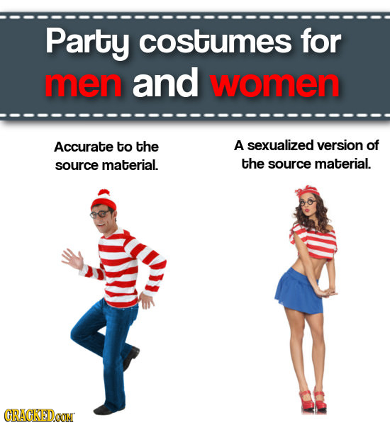Party costumes for men and women Accurate to the A sexualized version of source material. the source material. CRAGKEDCON