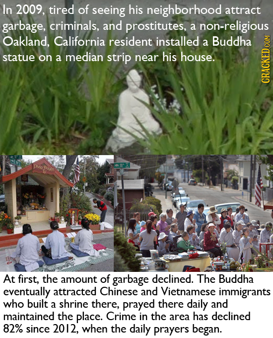 In 2009, tired of seeing his neighborhood attract garbage, criminals, and prostitutes, a non-religious Oakland, California resident installed Buddha a