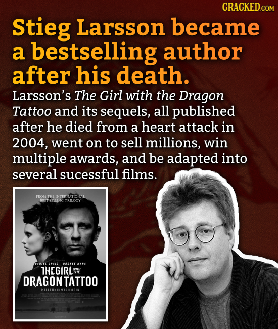 CRACKED.COM Stieg Larsson became a bestselling author after his death. Larsson's The Girl with the Dragon Tattoo and its sequels, all published after