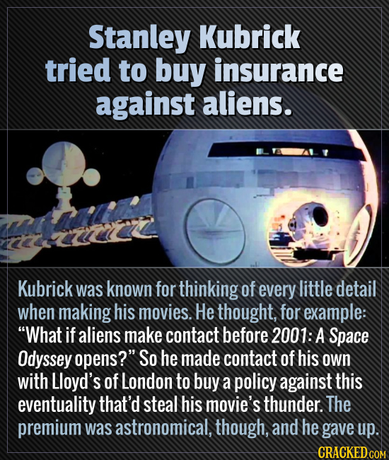 Stanley Kubrick tried to buy insurance against aliens. Kubrick was known for thinking of every little detail when making his movies. He thought, for e